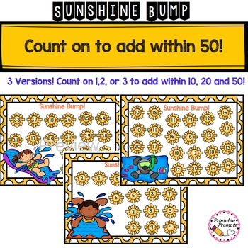 Sunshine Summer Bump Math Game- Count on to add to 50