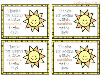 Sunshine Thank You Tags