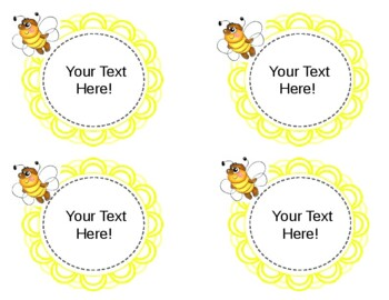 Sunshine and Bee Themed Editable Labels