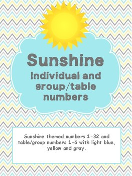 Sunshine Themed Classroom Decor - Individual and Group or Table Number labels
