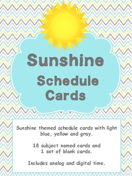 Sunshine Themed Classroom Decor - Schedule cards