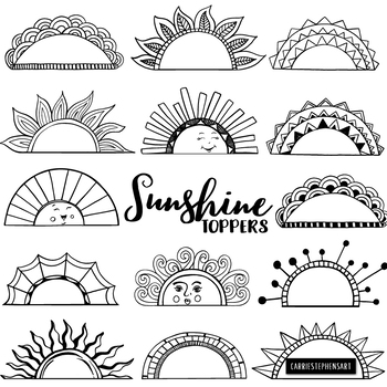 Sunshine Toppers, Frame and Label Black Line Art, Sun Silhouettes, Half Circle