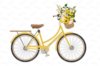 Sunshine Yellow Floral Bicycle Vectors - Flower Clipart, Peonies Clip Art