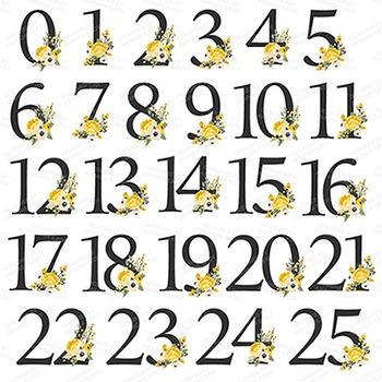 Sunshine Yellow Floral Number Vectors - Flower Clip Art, Peonies Clipart
