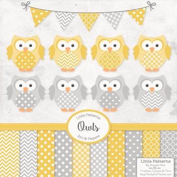 Sunshine Yellow & Grey Owls Vectors & Papers - Owl Clip Art, Baby Owls