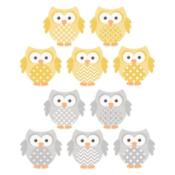 Sunshine Yellow & Grey Owls Vectors & Papers - Owl Clip Art, Baby Owls