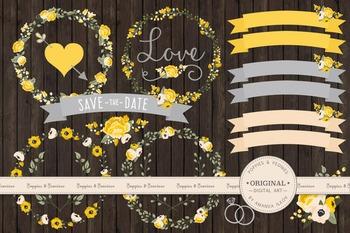 Sunshine Yellow Wedding Floral Clipart & Vectors - Flower Clip Art, Banners