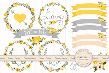 Sunshine Yellow Wedding Floral Clipart & Vectors - Flower