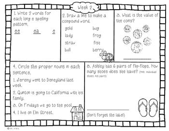 Summer Review Packet: 2nd Grade (No Prep)