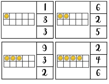 Sunshine ten frame clip cards for numbers 1-20.