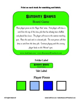 Sunshiny Shape Board Game File Folder Math center - Teaching Shapes PreK