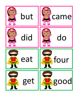 Superhero Dolch Primer Sight Words