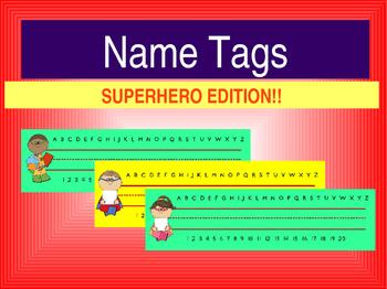 Supehero Name Tags **Editable**