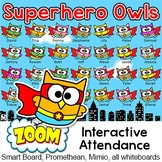 Superhero Owls Theme Attendance for All Interactive Whiteboards and Smartboards