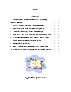 Super 3 Research Process Library Quiz