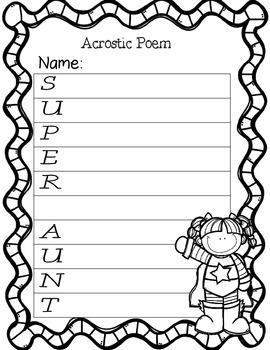 Super Acrostic Poems- mom, dad, grandma, grandpa, uncle, aunt