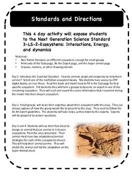 Super Animal: a unit for NGSS 3-LS-2 Ecosystems
