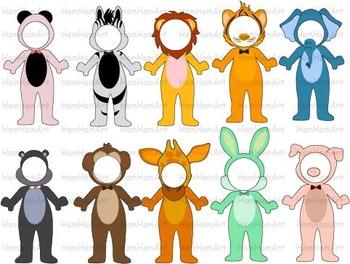 Super hero Animals school Farm Jungle Clip Art halloween decor costume -055-