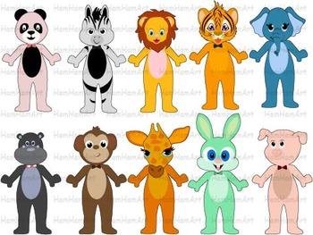 Super hero Animals school Farm Jungle Clip Art halloween d