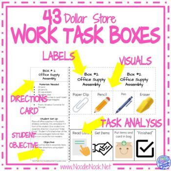 Super BUNDLE of DIY Dollar Store Vocational Work Task Boxes- 42 Activities!