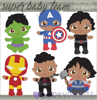 551bc924d Super Baby Team Digital Clipart by Dorky Doodles