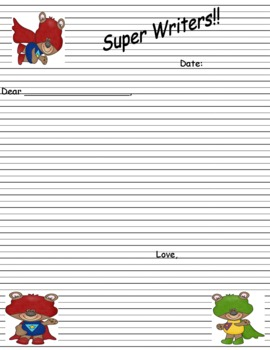 Super Bear Letter Writing Paper