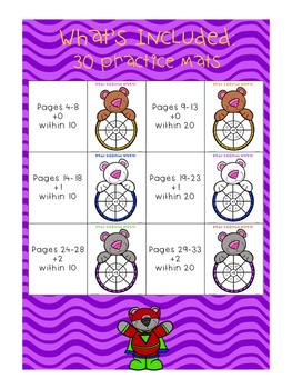 Super Bear Math Fact Practice Wheels {+0, +1, +2}