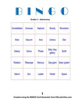 Super Science Bingo Grade 3