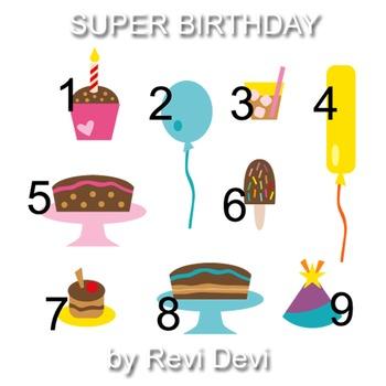 Super Birthday clip art 07020 (teacher resource) cupcake, balloon, gift