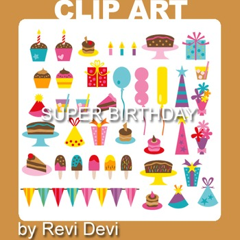 Super Birthday clip art 07020 (teacher resource) cupcake,