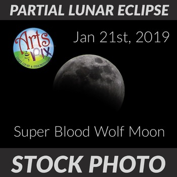 Super Blood Wolf Moon - Partial Lunar Eclipse - Stock Photo