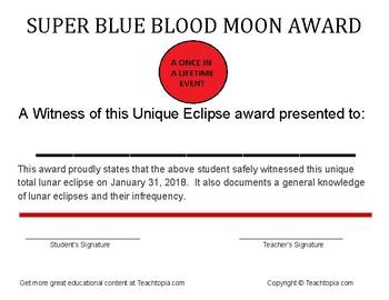Super Blue Blood Moon Certificate   Unique Lunar Eclipse Award Certificate 2018