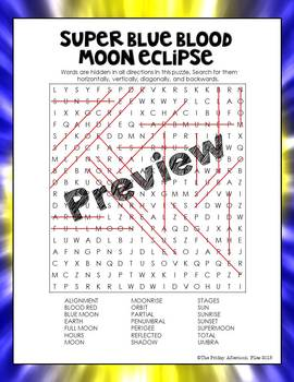 Super Blue Blood Moon Eclipse Word Search