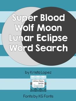 Super Blue Blood Moon Lunar Eclipse Word Search