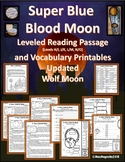 Super Blue Blood Moon and Wolf Moon Multi-level Reading Passage and Printables