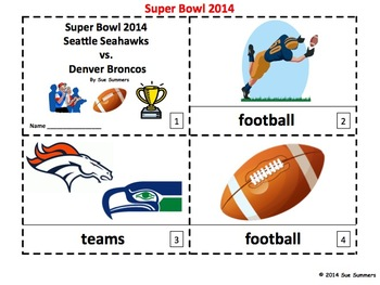 Super Bowl 2014 - 2 Emergent Reader Booklets - Football