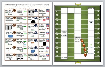 Super Bowl 2016 Literacy and Math Skills Game Board