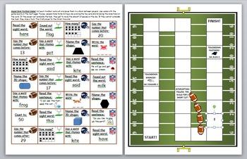 Super Bowl 2016 Literacy and Math Skills Game Board