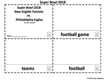 Super Bowl 2018 - 2 Emergent Reader Booklets - Football
