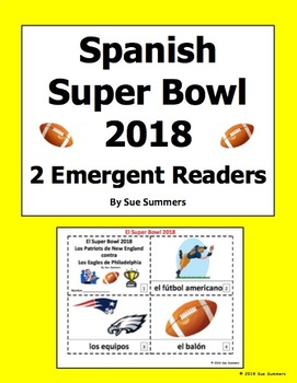 Super Bowl 2018 - 2 Emergent Reader Booklets in Spanish - Fútbol Americano