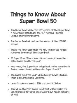 Super Bowl 50 (2016) Classroom Activities: Carolina Panthers vs. Denver Broncos