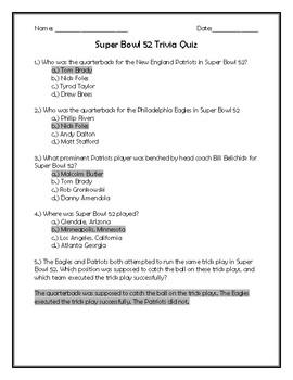 Super Bowl 52 Trivia Quiz
