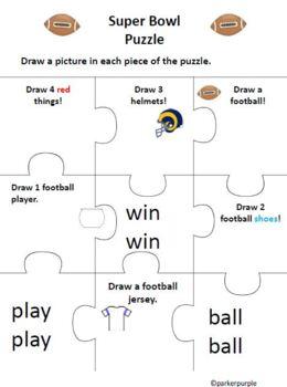 Super Bowl Activities - Pre-k and Kindergarten