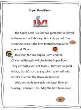 Super Bowl Activities - first, second, third