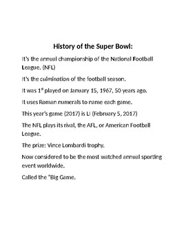 Super Bowl Activities for 1-5