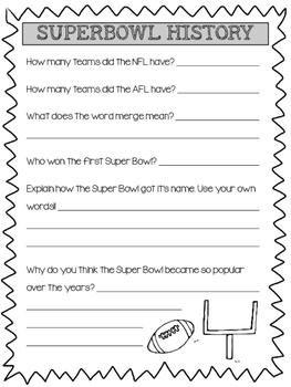 Super Bowl Activity Packet