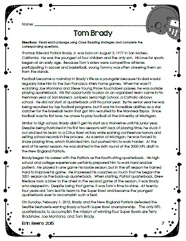FOOTBALL Close Reading FREEBIE for Grades 4-8