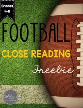FOOTBALL Close Reading FREEBIE for Grades 4-8