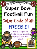 Super Bowl Color Code Math Fun (add, subtract, multiply) FREEBIE!