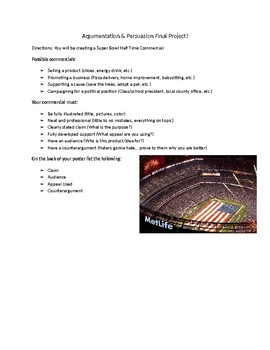 Super Bowl Commercial Argument and Persuasion Project